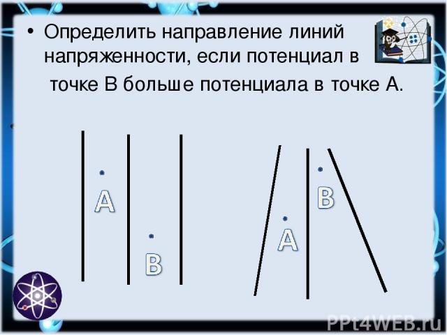 Определить направление линий напряженности, если потенциал в точке В больше потенциала в точке А.