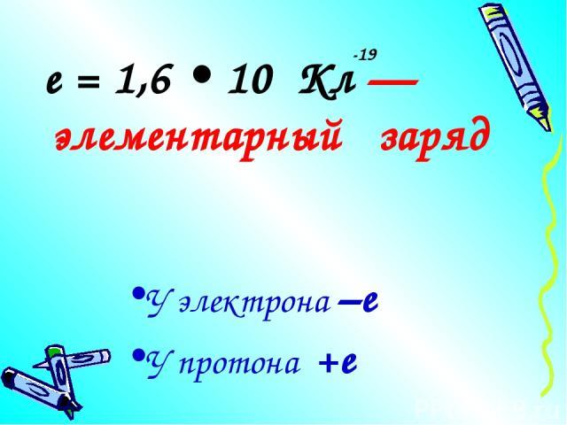 е = 1,6 • 10 Кл — элементарный заряд -19 У электрона –е У протона +е