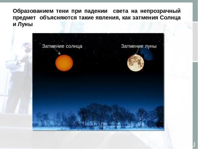 Title in here Образованием тени при падении света на непрозрачный предмет объясняются такие явления, как затмения Солнца и Луны Затмение солнца Затмение луны
