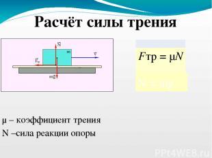 μ – коэффициент трения N = mg N –сила реакции опоры Расчёт силы трения Fтр=μN.