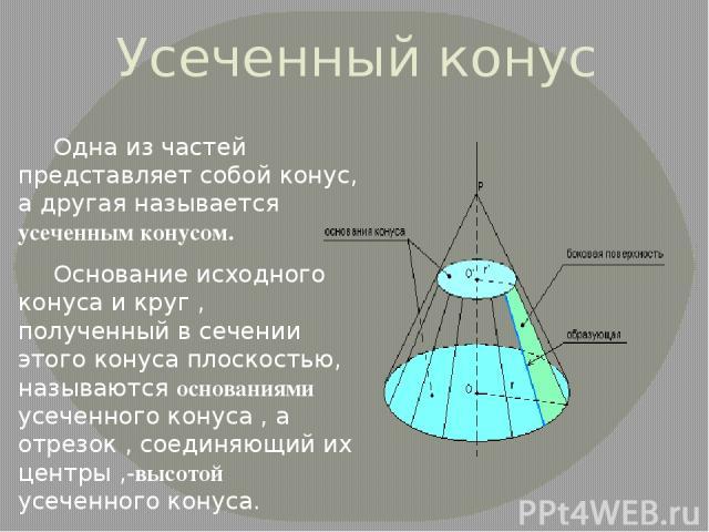 Усеченный конус Одна из частей представляет собой конус, а другая называется усеченным конусом. Основание исходного конуса и круг , полученный в сечении этого конуса плоскостью, называются основаниями усеченного конуса , а отрезок , соединяющий их ц…