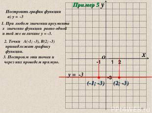 * Построить график функции а) у = -3 1. При любом значении аргумента х значение