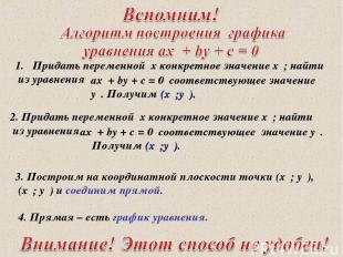 * 3. Построим на координатной плоскости точки (х₁; у₁), (х₂; у₂) и соединим прям