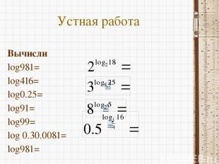 Устная работа Вычисли log981= log416= log0.25= log91= log99= log 0.30.0081= log9