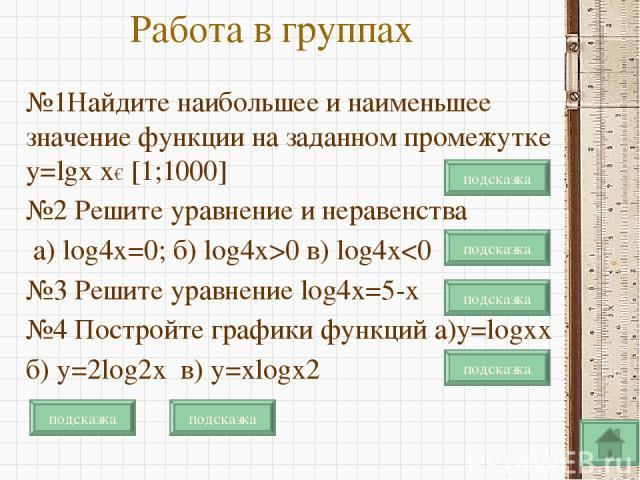 Работа в группах №1Найдите наибольшее и наименьшее значение функции на заданном промежутке y=lgx x€ [1;1000] №2 Решите уравнение и неравенства а) lоg4x=0; б) lоg4x>0 в) lоg4x