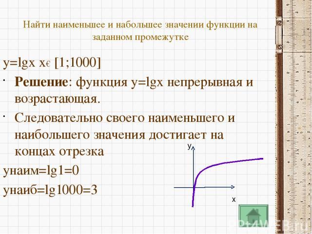 y 0 1 2 3 4 5 6 7 8 9 x 1 у = log4x y=0 lоg4x=0 Ответ:1 lоg4x>0 Ответ : x>1 lоg4x