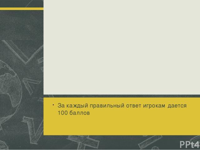 Тур седьмой За каждый правильный ответ игрокам дается 100 баллов