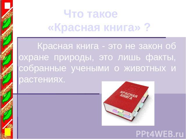 Что такое «Красная книга» ? Красная книга - это не закон об охране природы, это лишь факты, собранные учеными о животных и растениях.