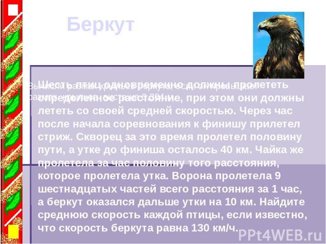 Беркут Вычисли размах крыльев беркута, если он превышает размах крыльев аиста на 0,304 м. Шесть птиц одновременно должны пролететь определенное расстояние, при этом они должны лететь со своей средней скоростью. Через час после начала соревнования к …