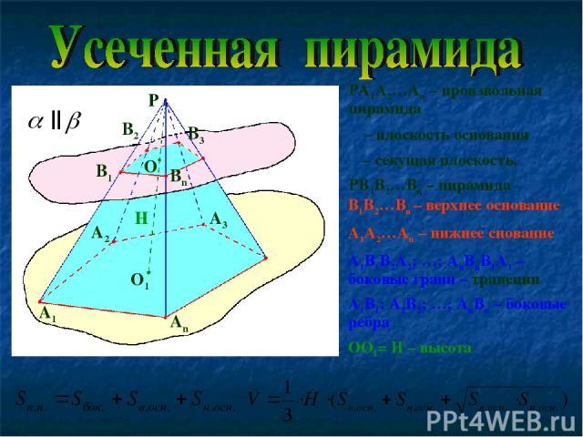 PA1A2…An – произвольная пирамида α – плоскость основания β – секущая плоскость, PB1B2…Bn – пирамида β α P A1 A2 A3 An B1 B3 Bn B2 O O1 H B1B2…Bn – верхнее основание A1A2…An – нижнее снование A1B1B2A2; …; AnBnB1A1 – боковые грани – трапеции A1B1; A2B…