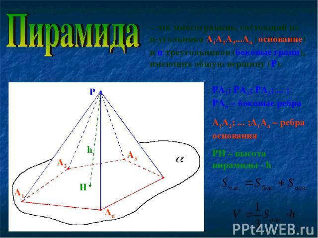 – это многогранник, состоящий из n-угольника А1А2А3...Аn (основание) и n треугольников (боковые грани), имеющих общую вершину (Р). Р А1 А2 А3 Аn H РА1; РА2; РА3; ... ; РАn – боковые ребра А1А2; ... ;А1Аn – ребра основания РH – высота пирамиды - h h
