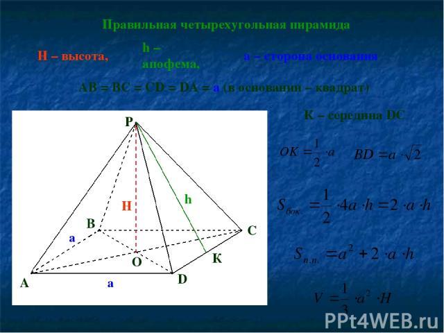 Правильная четырехугольная пирамида h – апофема, H – высота, AB = BC = CD = DA = a (в основании – квадрат) H h a a A B D O P К К – середина DC C а – сторона основания