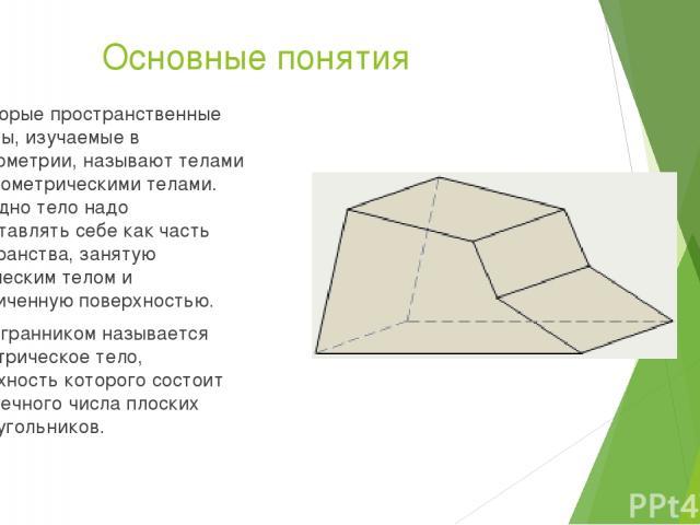 Основные понятия Некоторые пространственные фигуры, изучаемые в стереометрии, называют телами или геометрическими телами. Наглядно тело надо представлять себе как часть пространства, занятую физическим телом и ограниченную поверхностью. Многогранник…