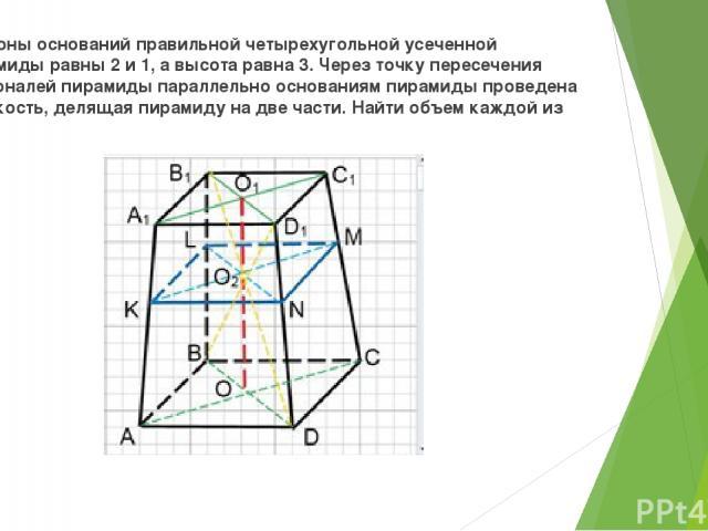 Стороны оснований правильной четырехугольной усеченной пирамиды равны 2 и 1, а высота равна 3. Через точку пересечения диагоналей пирамиды параллельно основаниям пирамиды проведена плоскость, делящая пирамиду на две части. Найти объем каждой из них.