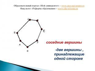 A C F G B соседние вершины D E -две вершины , принадлежащие одной стороне Образо