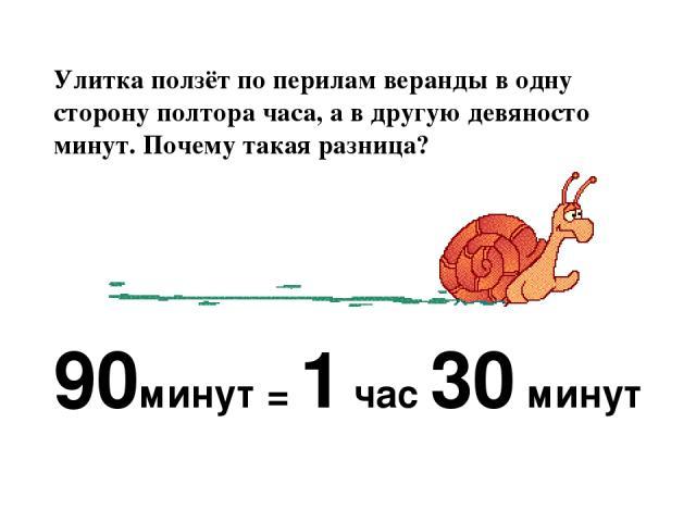Улитка ползёт по перилам веранды в одну сторону полтора часа, а в другую девяносто минут. Почему такая разница? 90минут = 1 час 30 минут