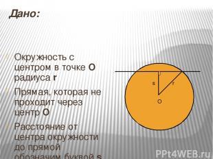 Дано: Окружность с центром в точке О радиуса r Прямая, которая не проходит через