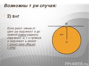 Возможны три случая: 2) s=r Если расстояние от центра окружности до прямой равно