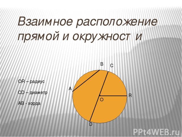 Взаимное расположение прямой и окружности . О А В С D R ОR – радиус СD – диаметр AB - хорда