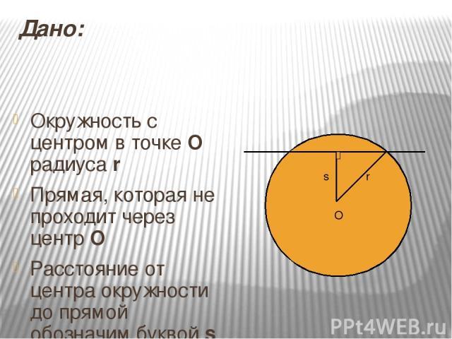 Дано: Окружность с центром в точке О радиуса r Прямая, которая не проходит через центр О Расстояние от центра окружности до прямой обозначим буквой s O r s