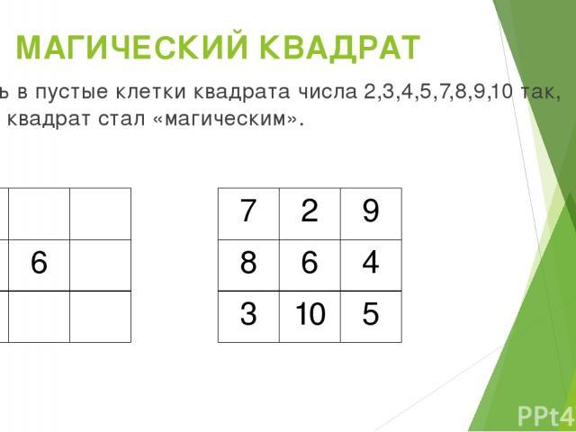 МАГИЧЕСКИЙ КВАДРАТ Вставь в пустые клетки квадрата числа 2,3,4,5,7,8,9,10 так, чтобы квадрат стал «магическим». 6 7 2 9 8 6 4 3 10 5
