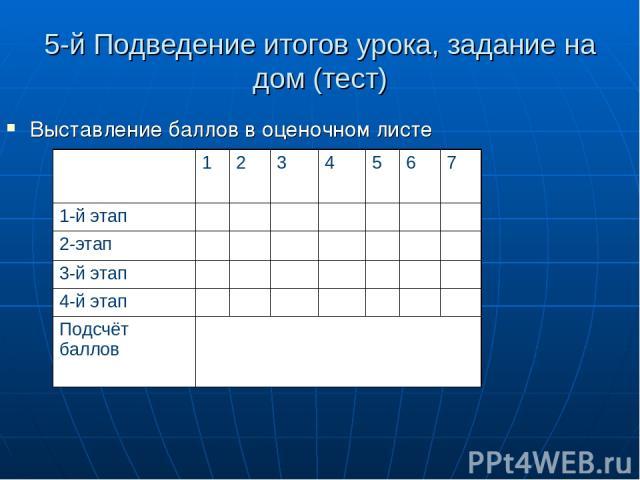 5-й Подведение итогов урока, задание на дом (тест) Выставление баллов в оценочном листе