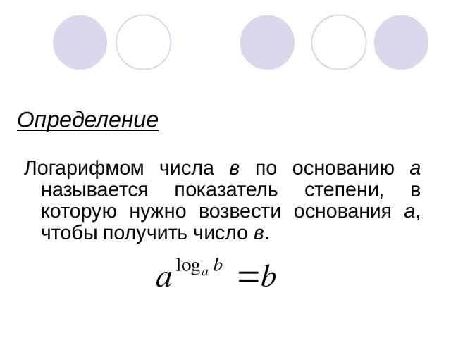Определение Логарифмом числа в по основанию а называется показатель степени, в которую нужно возвести основания а, чтобы получить число в.