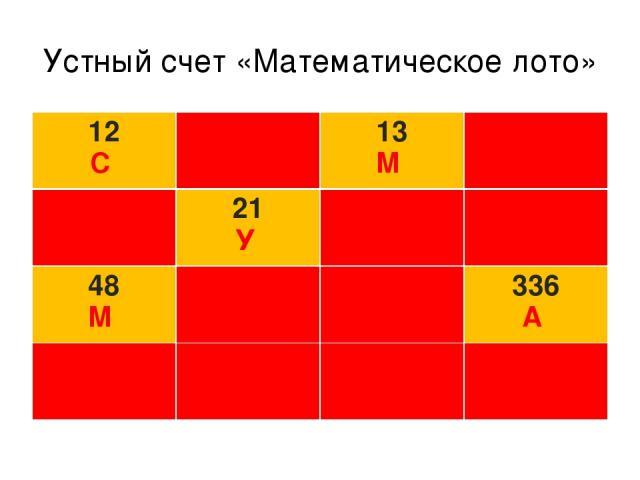 Устный счет «Математическое лото» 12 С З 13 М Н П 21 У О Т 48 М Е Ь 336 А Р И Е Р