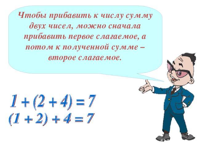 Чтобы прибавить к числу сумму двух чисел, можно сначала прибавить первое слагаемое, а потом к полученной сумме – второе слагаемое.