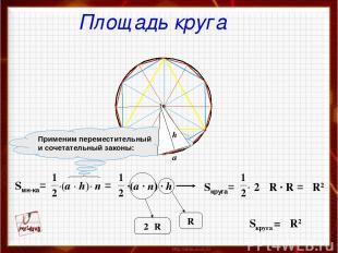·(a · n) · h πR2 Sкруга = πR2 Площадь круга
