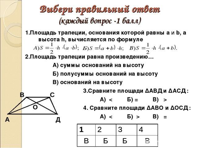 Выбери правильный ответ (каждый вопрос -1 балл) 1.Площадь трапеции, основания которой равны а и b, а высота h, вычисляется по формуле 2.Площадь трапеции равна произведению… А) суммы оснований на высоту Б) полусуммы оснований на высоту В) оснований н…