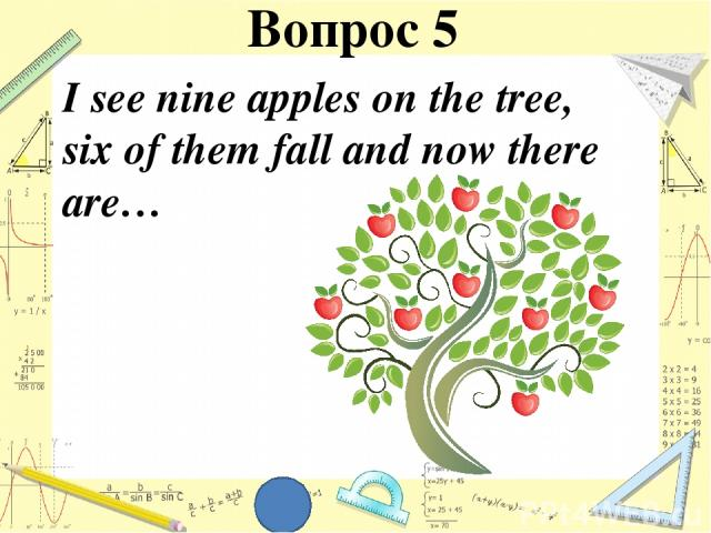 I see nine apples on the tree, six of them fall and now there are… Вопрос 5