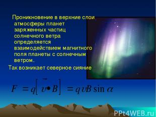 Проникновение в верхние слои атмосферы планет заряженных частиц солнечного ветра