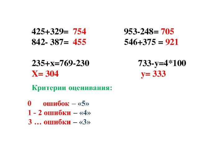 425+329= 754 953-248= 705 842- 387= 455 546+375 = 921  235+х=769-230 733-у=4*100 Х= 304 у= 333