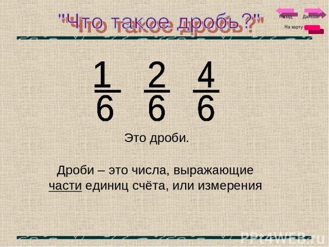 Это дроби. Дроби – это числа, выражающие части единиц счёта, или измерения Дальше На карту Назад