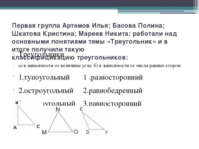 Первая группа Артемов Илья; Басова Полина; Шкатова Кристина; Мареев Никита: работали над основными понятиями темы «Треугольник» и в итоге получили такую классифицикацию треугольников: Треугольники а) в зависимости от величины угла: б) в зависимости …