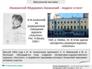 К началу выставки И.Ф.Анненский на редакционном совещании журнала «Аполлон». Рис