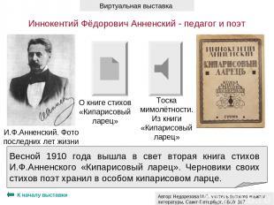 К началу выставки И.Ф.Анненский. Фото последних лет жизни Весной 1910 года вышла