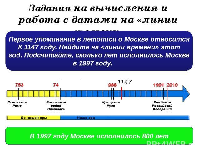 Задания на вычисления и работа с датами на «линии времени» Первое упоминание в летописи о Москве относится К 1147 году. Найдите на «линии времени» этот год. Подсчитайте, сколько лет исполнилось Москве в 1997 году. 1147 В 1997 году Москве исполнилось…