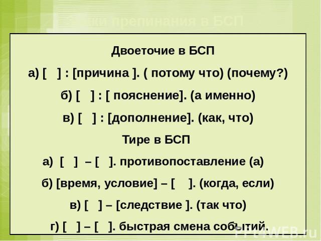 Двоеточие в БСП а) [ ] : [причина ]. ( потому что) (почему?) б) [ ] : [ пояснение]. (а именно) в) [ ] : [дополнение]. (как, что) Тире в БСП а) [ ] – [ ]. противопоставление (а) б) [время, условие] – [ ]. (когда, если) в) [ ] – [следствие ]. (так что…
