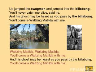 Up jumped the swagman and jumped into the billabong; You'll never catch me alive
