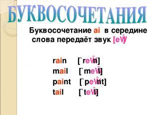 Буквосочетание ai в середине слова передаёт звук [eɪ] rain [`reɪn] mail [`meɪl]