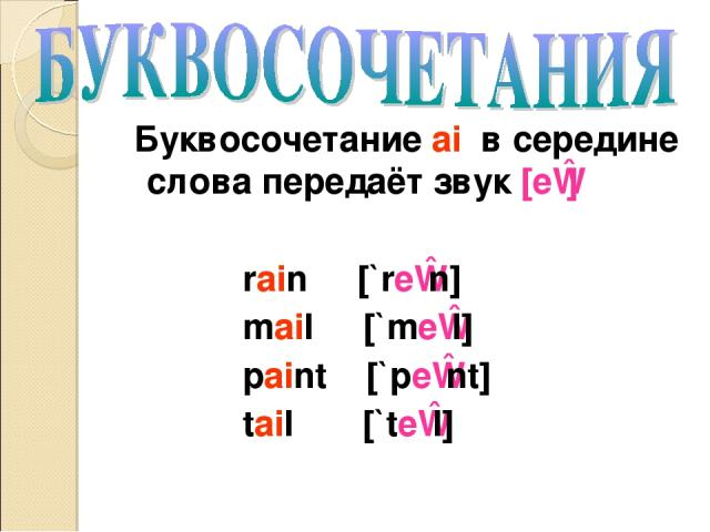 Буквосочетание ai в середине слова передаёт звук [eɪ] rain [`reɪn] mail [`meɪl] paint [`peɪnt] tail [`teɪl]