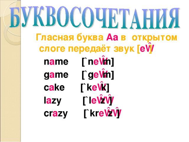 Гласная буква Aa в открытом слоге передаёт звук [eɪ] name [`neɪm] game [`geɪm] cake [`keɪk] lazy [`leɪzɪ] crazy [`kreɪzɪ]