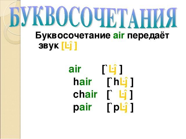 Буквосочетание air передаёт звук [ɛə] air [`ɛə] hair [`hɛə] chair [`ʧɛə] pair [`pɛə]