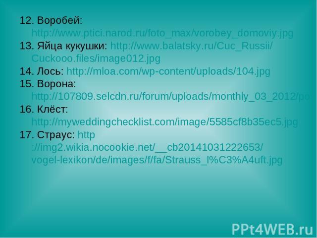 12. Воробей: http://www.ptici.narod.ru/foto_max/vorobey_domoviy.jpg 13. Яйца кукушки: http://www.balatsky.ru/Cuc_Russii/Cuckooo.files/image012.jpg 14. Лось: http://mloa.com/wp-content/uploads/104.jpg 15. Ворона: http://107809.selcdn.ru/forum/uploads…