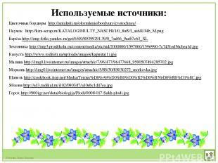 Используемые источники: Цветочные бордюры http://antalpiti.ru/oformlenie/bordyur