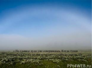 « Но главное чудо уже совершилось. Когда туман поднимался и таял, на миг в просв