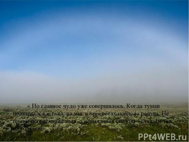 « Но главное чудо уже совершилось. Когда туман поднимался и таял, на миг в просветах повисла радуга. Не привычная семицветная, а невиданная снежно-белая. Белая на голубом»
