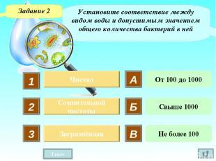 Установите соответствие между видом воды и допустимым значением общего количеств